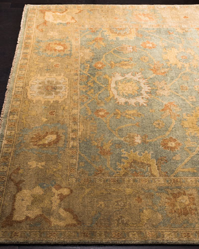 Vegetable Vine Hand-Knotted Oushak Rug, 9' x 12'