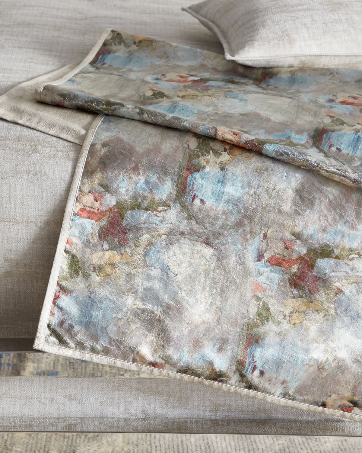 Fino Lino Linen & Lace Clothing CRAZY MONET QUEEN BED SCARF