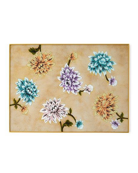Nomi K Elegant Colored Flower Painted Mirror Placemat