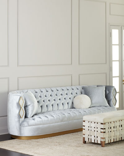 Elisa Marble Inlay Tufted Sofa, 113