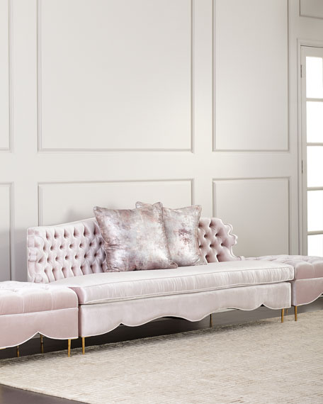 "Haute House Valentina Sofa, 83"" and Two Tufted Ottomans"