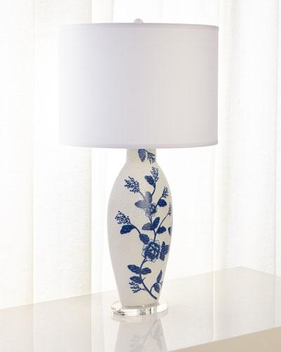 Blue Floral Ceramic Table Lamp