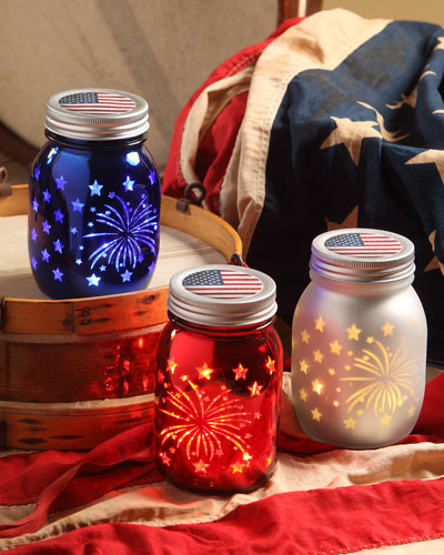 Americana Luminary Jars, Set of 3, 5.5