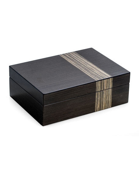 Bey-Berk Lacquered Ash Wood Valet Box