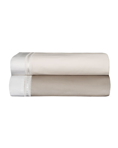 Devere Full/Queen Sheet Set, Taupe/White