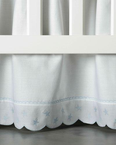 Twinkle Crib Dust Skirt, White/Blue