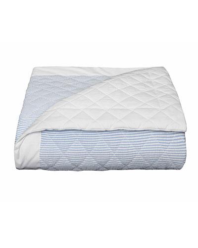 Baby Seersucker Crib Coverlet, White/Blue