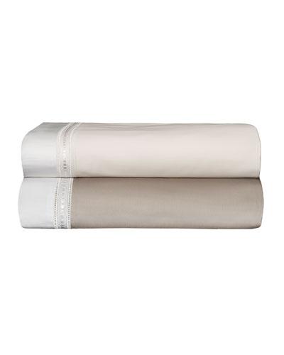 Devere King Sheet Set, Taupe/White