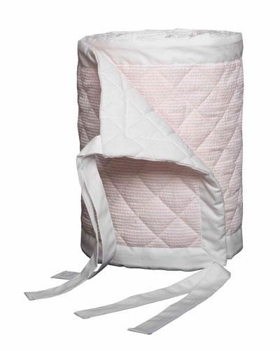 Baby Seersucker Crib Bumper, White/Pink