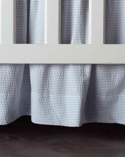 Baby Seersucker Crib Dust Skirt, White/Blue