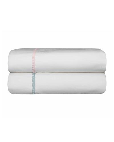 Bitsy Dots Twin Sheet Set, White/Light Pink