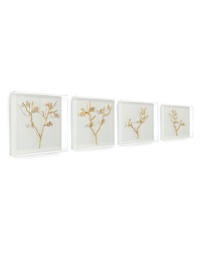 Gold Branches Metal Art, Set of 4