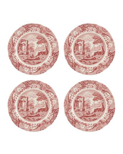 Cranberry Italian Dinner Plates, Set of 4
