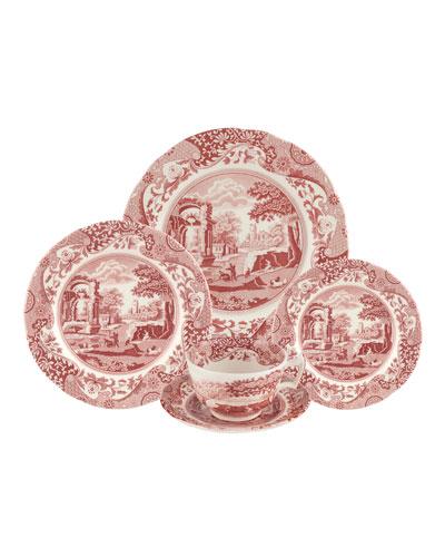 Cranberry Italian 5-Piece Dinnerware Set