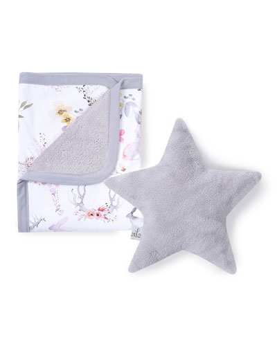 Fawn Cuddle Blanket & Star Pillow Set