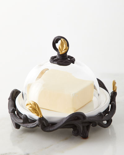 White Stoneware Glass Butter Tidbit Server with Metal Gold Leaf Base