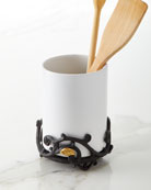 G G Collection White Stoneware Utensil Holder with
