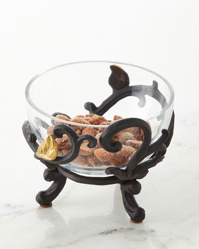 Glass Bowl with Metal Gold Leaf Base, Set of 4