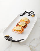 G G Collection White Stoneware Tray with Metal