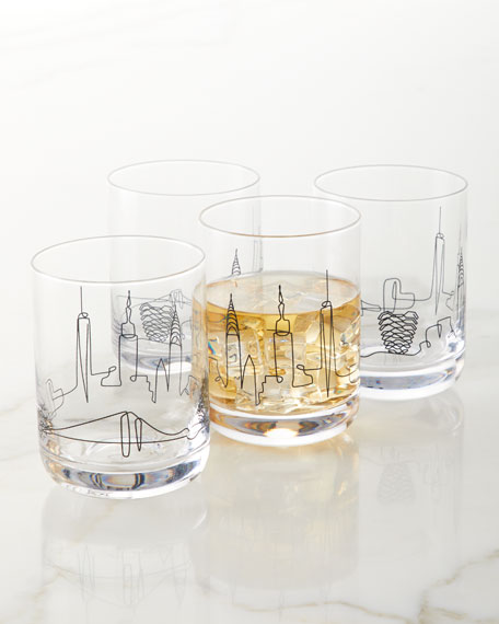 Neiman Marcus Skyline Double Old-Fashioned Glasses, Set of 4