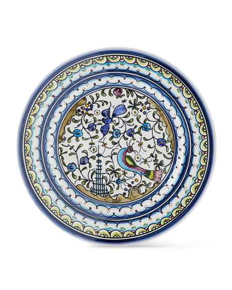 Neiman Marcus Pavoes Blue and Green Dinner Plates, Set of 4