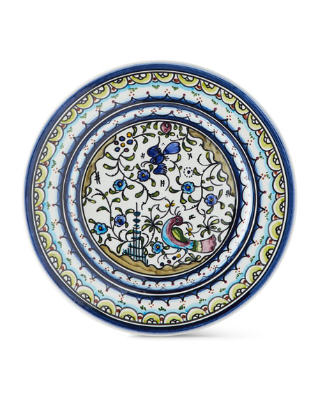 Neiman Marcus Pavoes Blue and Green Salad Plates, Set of 4