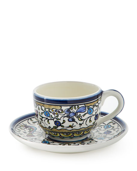 Neiman Marcus Pavoes Blue and Green Cups & Saucers, Set of 4