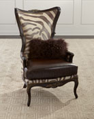 Massoud Grevy Zebra Leather Wing Chair