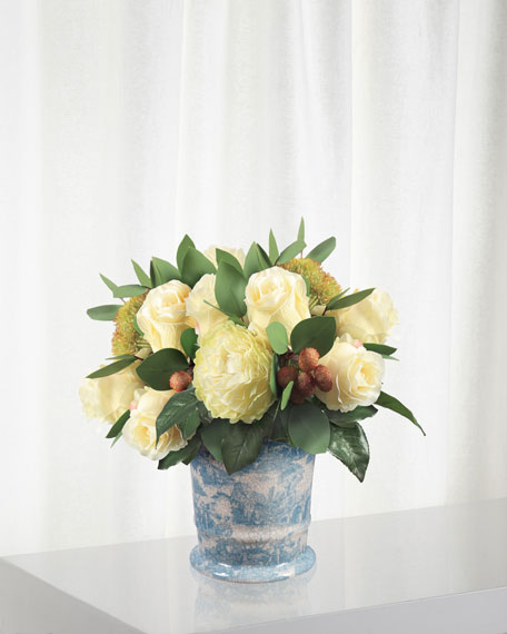 Winward Rose Bouquet in Flared Cache Pot