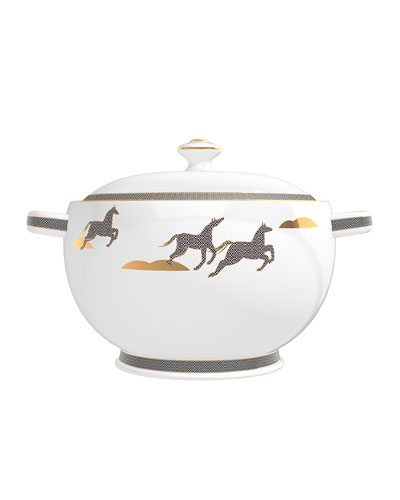 Cedar from French Leather Candle in Soup Tureen, 67 oz./ 1900 g