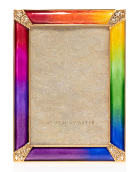 "Jay Strongwater Rainbow Pave Corner Frame, 4"" x 6"""