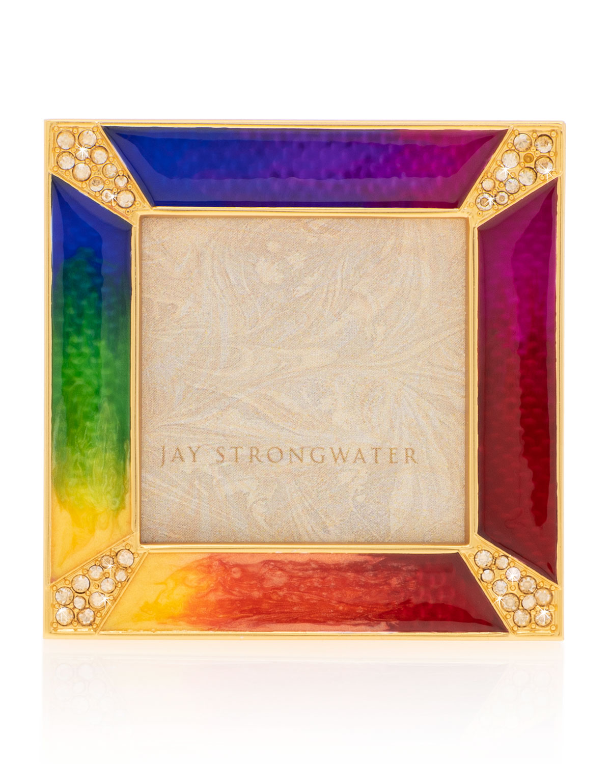 """Jay Strongwater Picture frames RAINBOW PAVE CORNER SQUARE FRAME, 2""""SQ."""