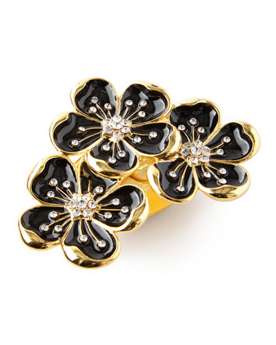 Black and Gold Flower Trio Napkin Ring, Set of 4