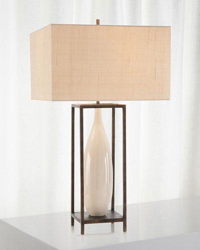 Framed Ceramic Urn Table Lamp