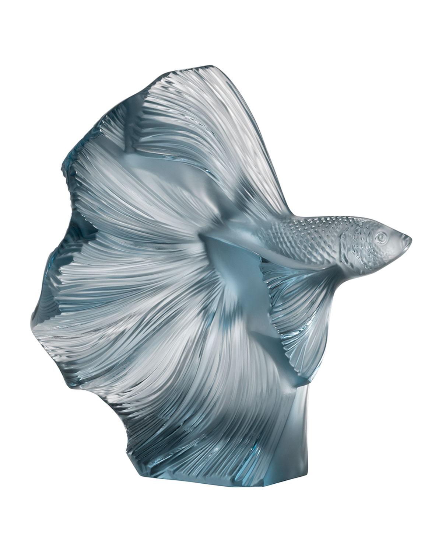 Lalique Clothing FIGHTING FISH SCULPTURE, PERSEPOLIS BLUE