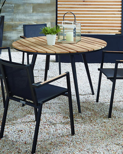 Outdoor Dining Table with Teak Top