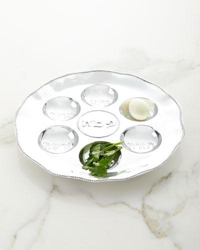 Judaica Seder Plate with Metal Pearls