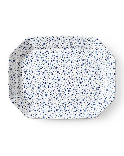 Midnight Sky Large Rectangular Platter, White/Blue