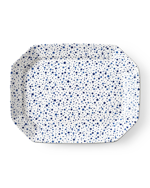Ralph Lauren Home MIDNIGHT SKY LARGE RECTANGULAR PLATTER, WHITE/BLUE