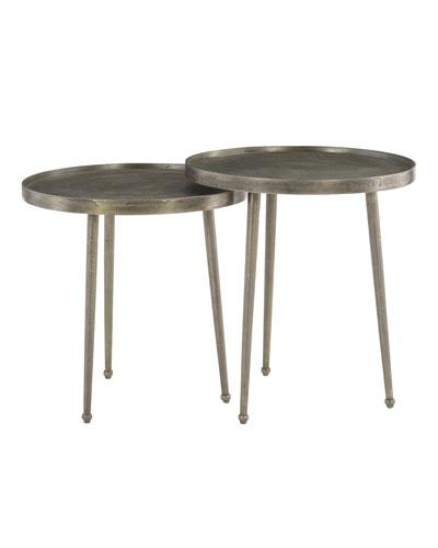 Abbey Jigsaw Bunching Table: Nickel Side Table