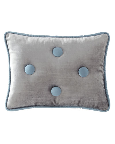 Sevilla Square Velvet Pillow with Button Trim
