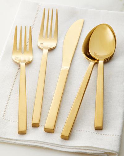 20-Piece Arezzo Flatware Service, Brush Gold