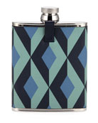 dunhill Men's Cadogan Engine Turn Leather-Wrapped Hip Flask