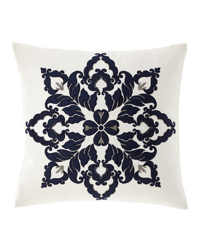 Velvet & Linen Beaded Decorative Pillow