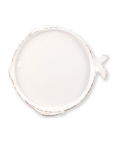 Melamine Lastra Fish Salad Plate, White