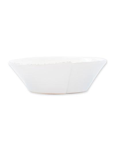 Lastra Small Oval Bowl, White
