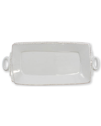 Lastra Handled Rectangular Platter, Light Gray