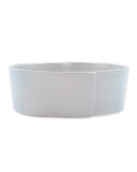 Vietri Lastra Large Serving Bowl, Light Gray