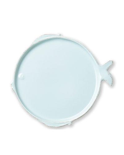 Melamine Lastra Fish Dinner Plate, Aqua