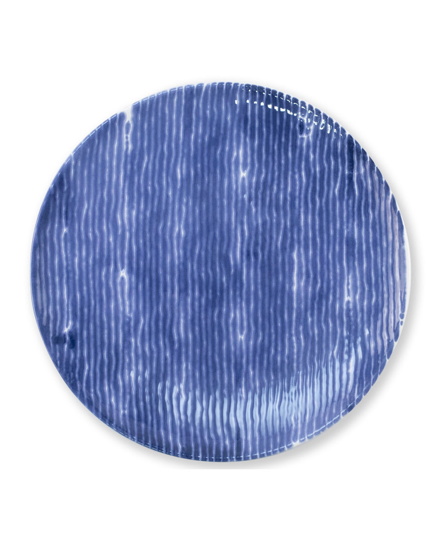 Vietri Viva Santorini Stripe Ceramic Dinner Plate In Blue